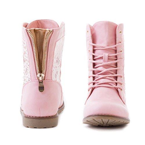 Marimo24 Damen #Trendboot Stiefel Stiefeletten Worker Boots mit Spitze in hochwertiger Lederoptik Übergrößen bis 43 #Glitzer Pink
