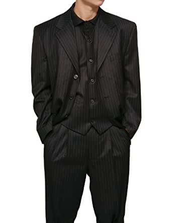 New Men's 3 Piece Black Gangster Pinstripe Dress Suit with Matching Vest 38s/32w