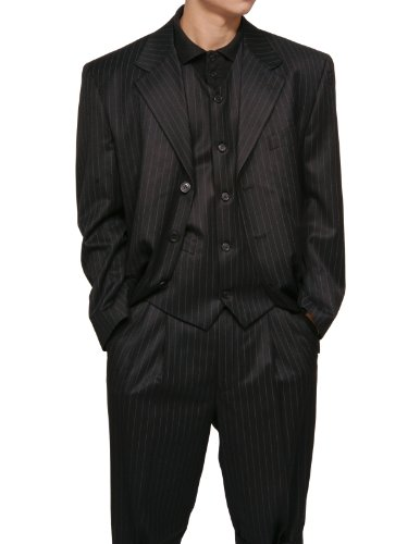 New Men's 3 Piece Black Gangster Pinstripe Dress Suit with Matching Vest
