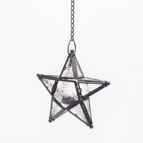 - Richland Hanging Star Metal Tealight Lantern with Clear Embossed Glass