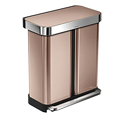 simplehuman 58 Litre / 15.3 Gal Rectangular Dual Compartment Recycling Step Can with Liner Pocket, Rose Gold Stainless Steel