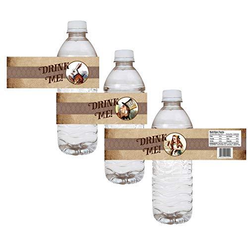 (Alice In Wonderland Party Water Bottle Labels - Wedding Bridal Baby Shower Drink Sticker - Set of 12)