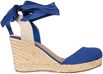 41f8a9c7b6b7 BBalizko Womens Espadrille Wedges Tie up Sandals Platform Ankle Strap Braided  Sandals Shoes