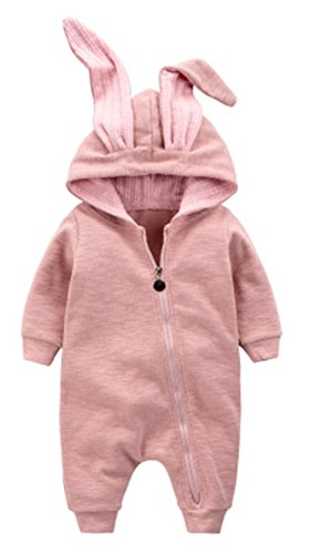 Winter Warm Baby Boys Girls Rabbit 3D Ear Zipper Hooded Romper Jumpsuit Outfits Size 3-6 Months/66 (Pink) -