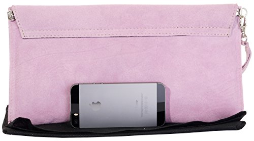 Suede Leather Wrist Made Baby Pink Clutch Envelope Bag Branded Italian Storage Protective Design Hand Shoulder Crossbody or Bag d5qxa0