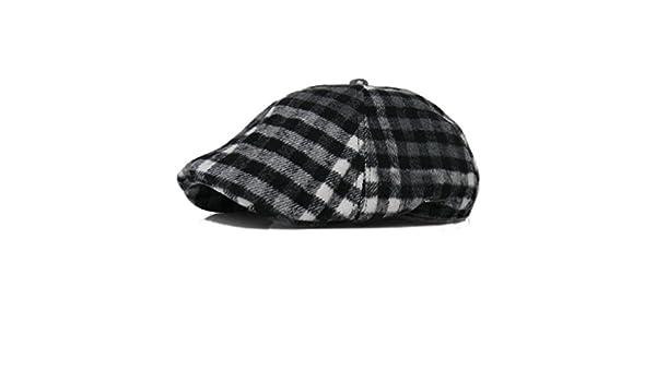 a347fab24 Plaid Wool Duckbill Stripe Gatsby Cap Mens Ivy Hat Golf Driving Flat ...