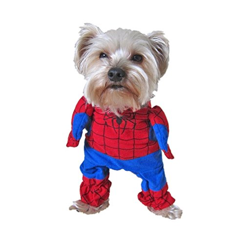 [Harukokoro(TM)Pet Dogs Cats Cosplay Spider-Man Clothes with Cape Costume, Fashion Lovely Pet Clothing.(XL)] (Pet Spiderman Costumes)