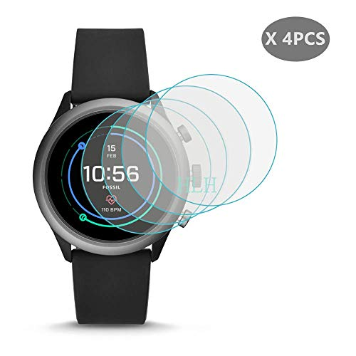 [ 4-PCS ] for Fossil Sport Screen Protector, HLH 9H Hardness Anti-Scratch Tempered Glass Screen Protector for Fossil Gen 4 Sport 43mm Smartwatch Anti-Bubble Protector