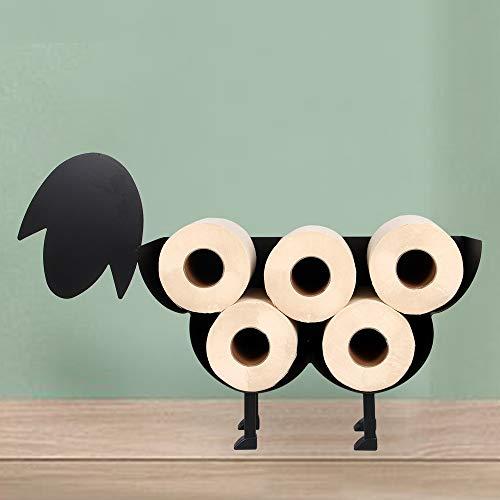 G Group Sheep Toilet Paper Holder – Fun Metal Free Standing or Wall Mounted Bathroom Organizer, 7 Rolls Tissue Storage