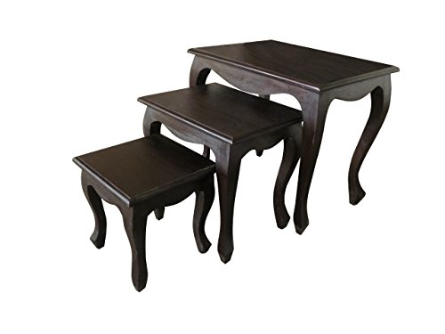 NES Furniture Nes Fine Handcrafted Furniture Solid Mahogany Wood Queen Anne Nesting Tables - 24