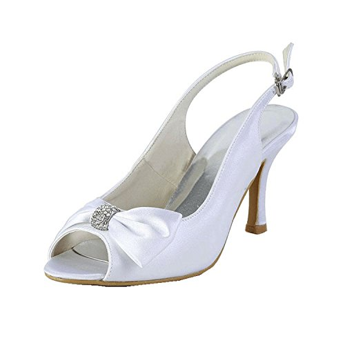 Minishion Girls Womens Slingback Knot White Satin Bridal Wedding Sandals Dress Shoes US 5.5