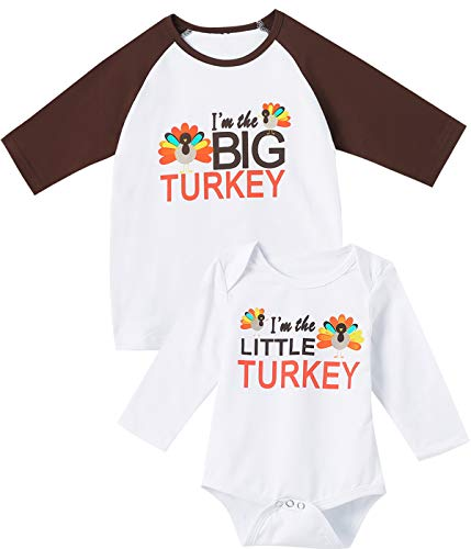 Aslaylme Thanksgiving Matching Sister Brother Outfits Baby Girl Boy Little Turkey Bodysuit (White-Little,0-3 Months) (Big Brother And Baby Sister Matching Outfits)