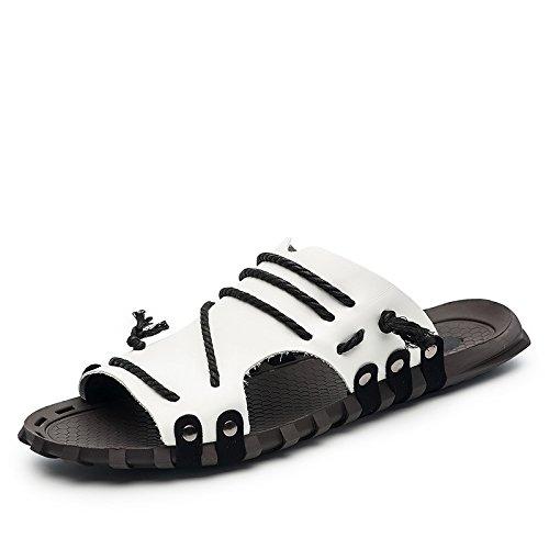 Xing Lin Flip Flop De La Playa Los Hombres Sandalias _ Verano Palabra Pantuflas Sandalias De Gran Tamaño Nuevo Sandalias De Hombres XGZ7551 white