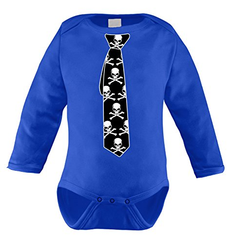 HAASE UNLIMITED Tie of Skull Long Sleeve Bodysuit (18 Months, Royal Blue)