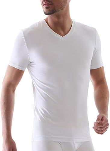 David Archy Men's 3 Pack Micro Modal & Bamboo Rayon & Supima Cotton Soft Comfy V-Neck and Deep V-Neck Undershirts