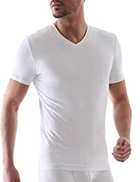 David Archy Men's 3 Pack Micro Modal Slim Fit V-neck T-shirts