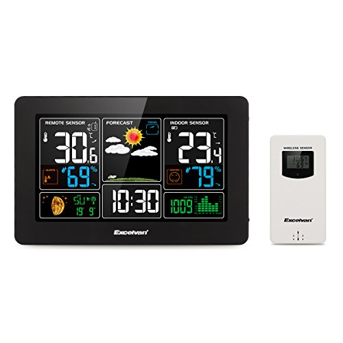 Excelvan Digital Wireless Weather Station with Large LCD Color Display, Barometer for Weather Forecast with Indoor and Outdoor Sensor, Temperature Humidity Monitor, Alarm Clock, ()