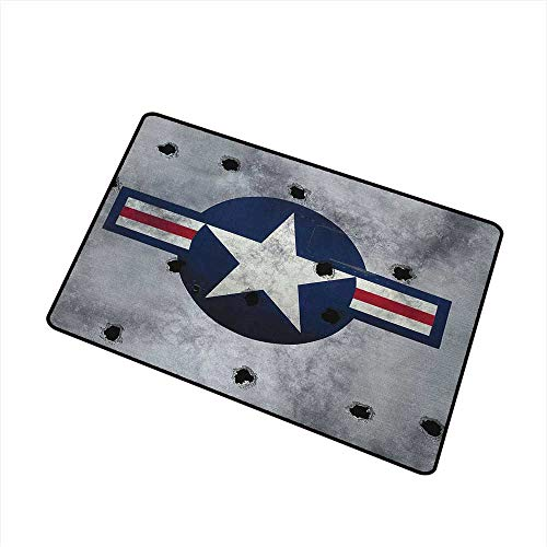 (Wang Hai Chuan Airplane Welcome Door mat Star on Round Circle with Stripes with Grunge Effect Backdrop Aircraft Door mat is odorless and Durable W23.6 x L35.4 Inch Red Grey Blue White)