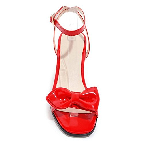 COOLCEPT Damen Open Toe Sandalen Schuhe Blockabsatz Red