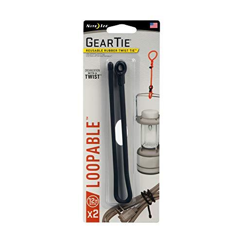 Nite Ize GLS12-01-2R7 Gear Tie, 12-Inch (2-Pack), Black