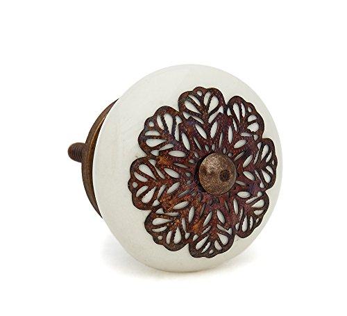 Cream Strewn Flat Ceramic Knob Pull for Dresser, Desks, Hutches, Drawers, Cabinets or Doors
