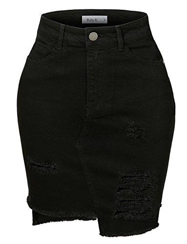 RK RUBY KARAT Womens Vintage Destroyed Ripped High-Low Hem Black Denim Skirt