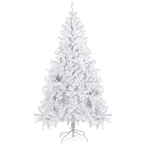 Best Choice Products 6ft Premium Hinged Artificial Christmas Pine Tree Holiday Decoration w/Solid Metal Stand, 1,000 Tips, Easy Assembly - White 87