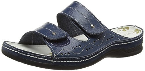 Real Summer Shoes Holiday Leather Beach Navy Sandals Slip Ladies On Womens f5SwBBq