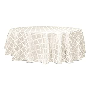 "Lenox Laurel Leaf 90"" Round Tablecloth, White"