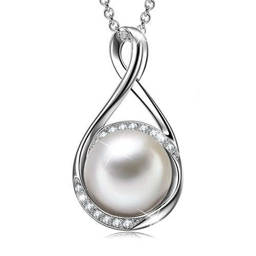 Swarovski Crystal Pearl Necklace - SIVERY Gifts for Women 925 Sterling Silver Pendant Necklaces for Women with Crystal Pearl from Swarovski, Fine Jewelry for Women, Gifts for Mom (Amazing Love)