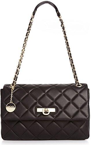 DKNY Ganesevoort Quilted Nappa Large Shoulder Handbag with Adj Chain Black