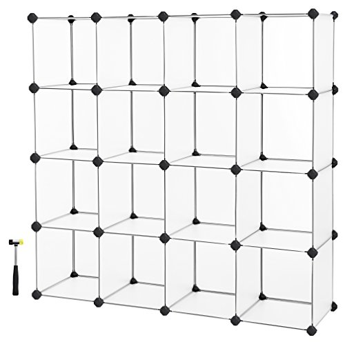 SONGMICS Cube Storage, Plastic Cube Organizer Units,DIY Modular Closet Cabinet, Bookcase Included Anti-Toppling Fittings and Rubber Hammer White Translucent 16-Cube ULPC44L by SONGMICS