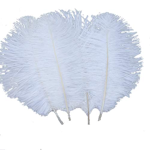 Sowder 20pcs Natural 10-12inch(25-30cm) Ostrich Feathers Plume Wedding Centerpieces Home Decoration(White) - Ostrich Plume Feathers