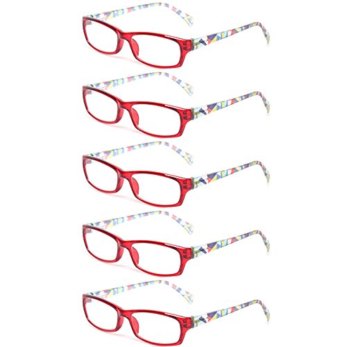 Reading Glasses 5 Pairs Fashion Ladies Readers Spring Hinge with Pattern Print Eyeglasses for Women (5 Pack Red, 2.0) (Red Pattern Glass)