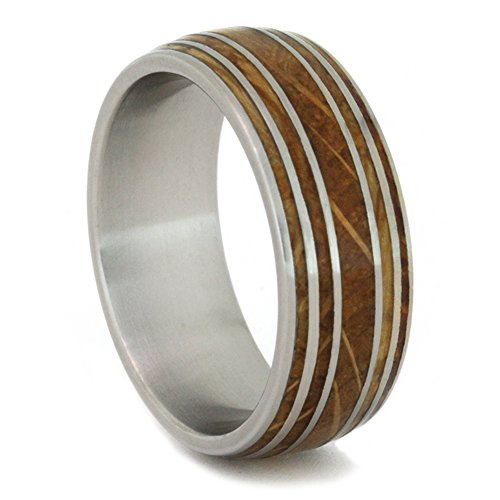 Jack Daniels Oak Wood Whiskey Barrel 9mm Comfort-Fit Matte Titanium Band, Size 11 by The Men's Jewelry Store (Unisex Jewelry)