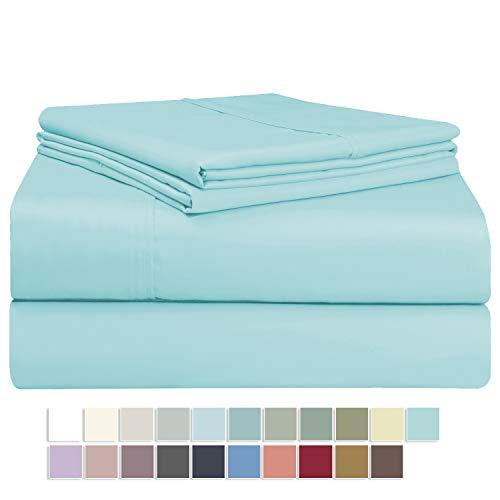 Pizuna 400 Thread Count Ice Aqua Full Sheet Set, 100% Long Staple Cotton Soft Sateen Bed Sheets Deep Pockets fit Upto 16 inch (Ice Aqua Full Cotton Sheets)