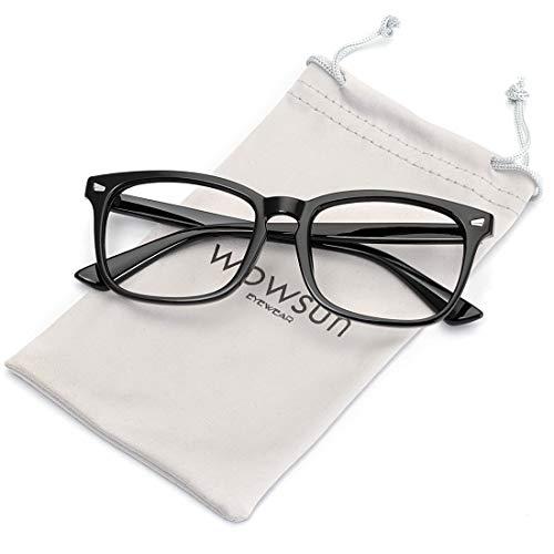 WOWSUN Non Prescription Glasses for Women Men,Clear Lens Eyeglasses Fashion Nerd Optical Frames Fake Eye Glasses Black Frame