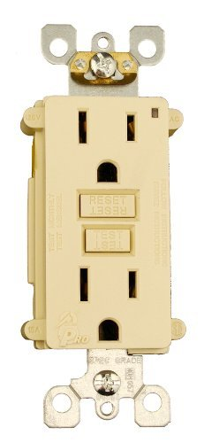 Leviton 7599-3I 15 Amp, 125 Monochromatic GFCI receptacle. Wall plate sold separately, 3-Pack, Ivory