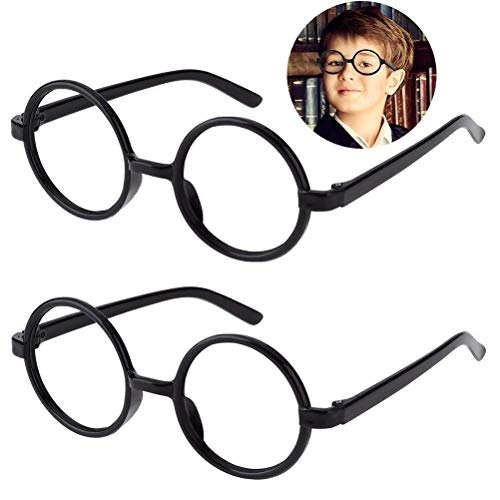 Kids Wizard Glasses Retro Round Glasses Frame No Lenses for Christmas Costume Party Cosplay Supplies for Age 4-12 -
