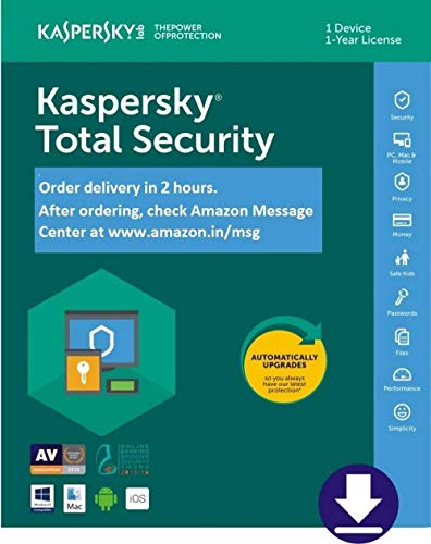 Combo Pack- Kaspersky Total Security Latest Version- 1 User, 1 Year (CD) + Kaspersky Internet Security for Android (Voucher)