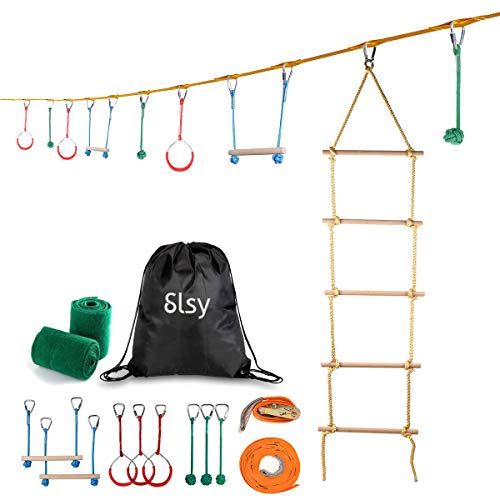 Slsy Ninja Line Obstacle Course for Kids, 40ft Slackline Hanging Monkey Bar with Climbing Ladder, Kids Warrior Training Equipment 440lb Capacity ()