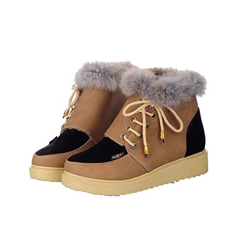 Closed up Lace Toe Boots Round Brown Low Top Frosted Heels Women's AgooLar Low qIUAwazI