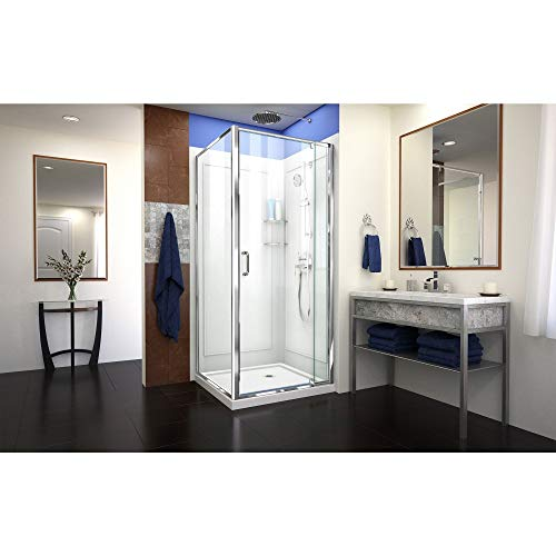 DreamLine Flex 32 in. D x 32 in. W x 76 3/4 in. H Pivot Shower Enclosure in Chrome with Corner Drain White Base and Backwall Kit, DL-6716-01CL