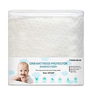 HOMEIDEAS Natural Bamboo Crib Mattress Protector - Waterproof & Hypoallergenic & Breathable Fitted Mattress Pad for Infant and Toddler,Bamboo Fiber Front & Organic Cotton Back