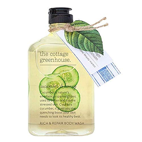 The Cottage Greenhouse Cucumber & Honey Moisture Rich Shower Oil & Body Wash, 11.5 oz | Natural, Paraben Free, Gluten Free, Cruelty Free, Moisture Rich Shower Oil & Body Wash