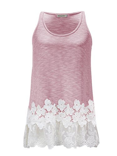Pink Floral Tank Top (Anna-Kaci Womens Casual Flowy Fit Long Tunic Tank Top with Lace Trim, Pink, Large)