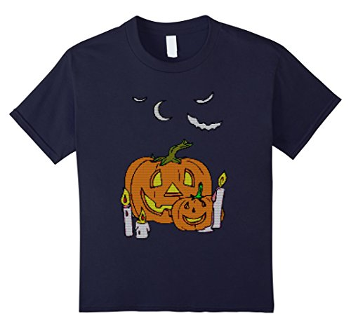 Kids Ugly Halloween Pumpkin Family Sweater Textured T-Shirt 12 (Homemade Halloween Costumes Photos)