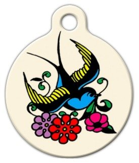 Classic Sparrow Tattoo - Custom Pet ID Tag for Cats and Dogs - Dog Tag Art - LARGE SIZE