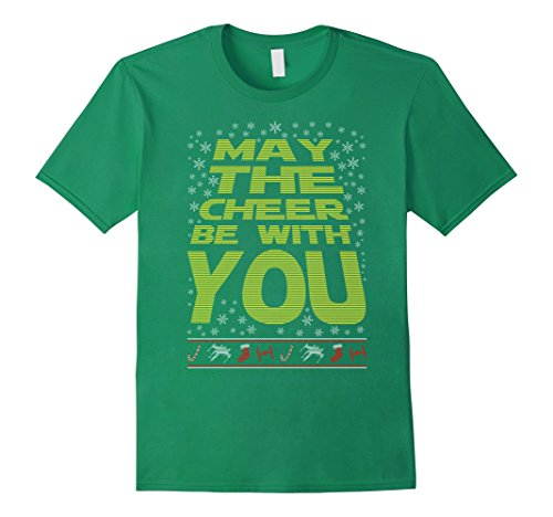 [Men's May The Cheer Be With You Xmas Christmas Ugly Tee Funny Gift XL Kelly Green] (Father Son Star Wars Costumes)