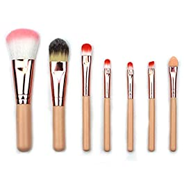 3 Sets of Fiber Hair Makeup Brush Sets Aluminum Tube Wooden Handle Facial Beauty Tools for Daily Use Makeup Brushes